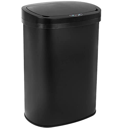 Buy Stainless Steel Kitchen Trash Can Bathroom Bedroom Office Waste Bin With Lid Automatic Sensor Touch Free Garbage Can 13 Gallon 50l Black Online In Senegal B07shrg69w