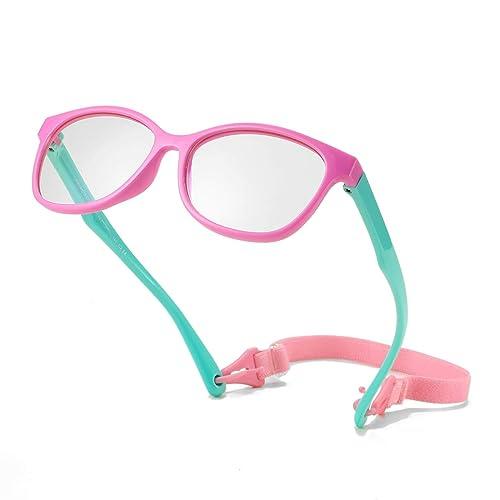 for Children Age 3-12 Memory Rubber Flexible Frame with Glasses Rope Kids Blue Light Blocking Glasses for Boys Girls