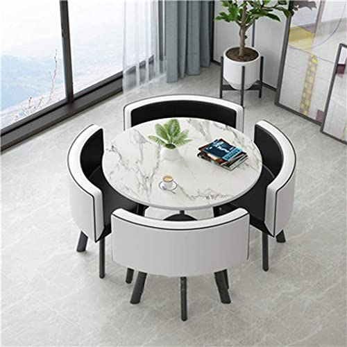 5 Piece Round Dining Set With 4 Chairs, Small Round Dining Table Set