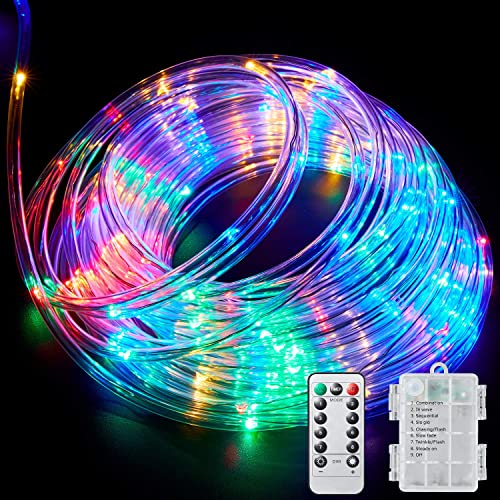 Rope Lights with Remote,100LED Rope Lights 33ft 16 Colors Changing Battery Powered Multi Color Twinkle Rope Tube Fairy Lights for Wedding Christmas Party Waterproof Indoor//Outdoor Decorations