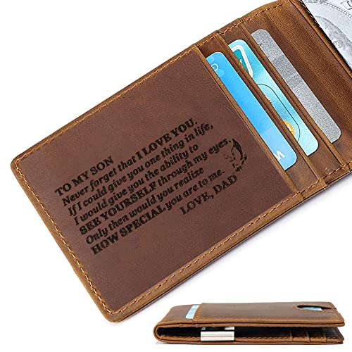 Father day gift Minimalist front pocket wallet Engraved leather purse Custom money clip wallet Personalized wallet for man