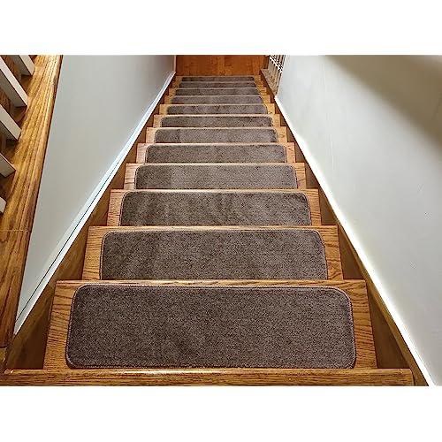 Comfy Collection Stair Tread Treads Indoor Skid Slip Resistant Carpet Stair Tread Treads Machine Washable 8 /½ inch x 30 inch 1 Piece, Beige