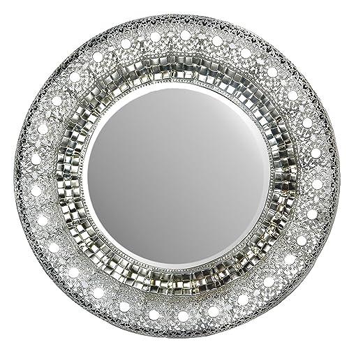 Lulu Decor 19 Oriental Round, Ornate Round Silver Wall Mirror